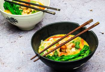 Spicy Malaysian Laksa Soup With Grilled Prawns & Tenderstem Broccoli